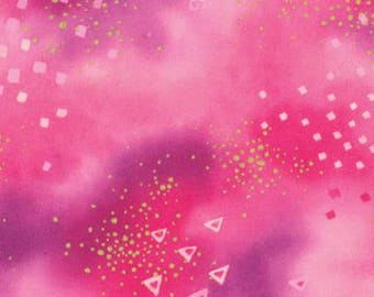 Laurel Burch Basics Dark Pink Glitter with Metallic Accents cotton Y0808-43M precut quilting fabric material triangles by the yard metre