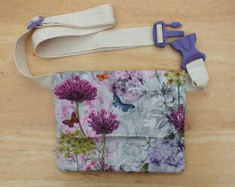 Wildflower Belt Bag, Hip Purse, Bum Bag, Waist Bag, Money Belt, Flat Fanny Pack or Travel Wallet with Long Belt