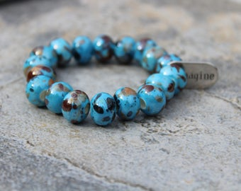 Bold Turquoise and Brown Ceramic Bead Bracelet with Inspiration Charm