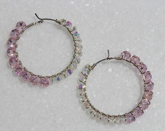 Subtle Pink and White Czech Glass Crystal Wire Wrapped Hoop Earrings