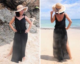 Long Dress, Maxi Summer Dress, Split Tie Up Dress, Black Dress, Beach Cover Up, Sleeveless Dress, Gift for Her