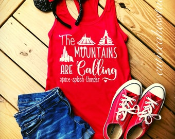 Disney Mountains are calling shirt space splash Thunder Mountain ladies disney vacation shirt disney mountain shirt disney shirts for women