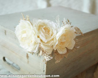 Cream Floral Crown, White Floral Crown, White and Gold Floral Crown, Asymmetrical Floral Crown, White Floral Halo, White Rose Crown