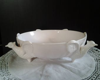 Shell Pink Milk Glass Pheasant Three Footed Bowl - Wedding gift - Jeanette Glass Company