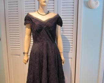 1950's Rockabilly Dress size 14 ( todays size 10) off shoulder with hat hematite necklace and bracelet