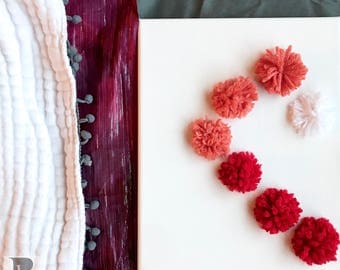 Ombre Red, Pink and White - Pom Pom Heart, 8x10 yarn stitched canvas