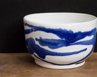 Handmade Blue and White River Bowl