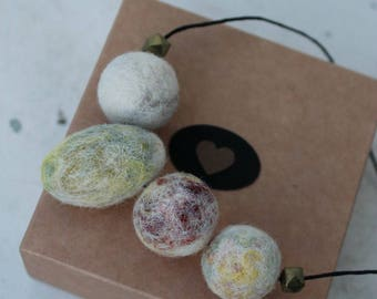 Wool felted necklace