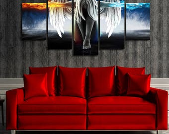 Angel Power Fire & Ice Framed Wall Art Hanging