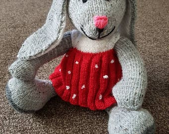 Rosie Rabbit, grey rabbit with a lovely dress and bow