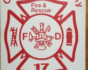 Fire and rescue decal, firefighter, police, window decal, car, truck, fire truck, glass