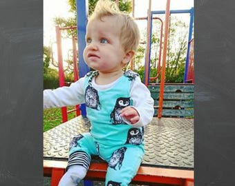Baby romper, toddler romper, penguin romper, baby dungarees, toddler dungarees, baby girls clothes, newborn clothes, baby boy clothes