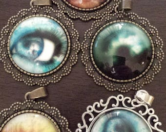 5 defective eye ball eyes glass cabochon pendants  destash  clearance #p21