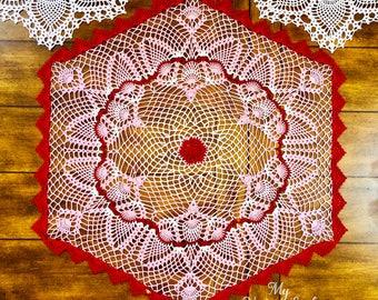 Rose Quartz Dove Doily - Red Hexagon Doily - Pineapple Doily - Vintage Home Doily - Flower Crochet Doily - Wedding Gift - Crochet Lace Doily