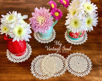 Doily Coaster Set - Crochet Coasters - Drink Coasters - Bridal Shower Gift - Vintage Home Decor - Handmade Coasters - Kitchen Decor