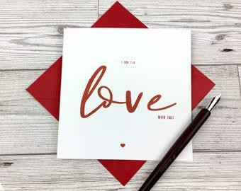 Love Never Fails Card, Christian Card, Anniversary Card, Valentines Card, Religious Card, Blank Card, Card for Her, Card for Him