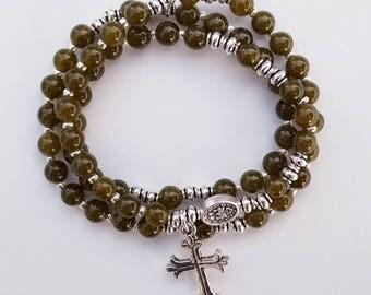Olive Jade Stretch Rosary Bracelet