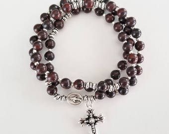 Red and Brown Brecciated Jasper Rosary Stretch Bracelet