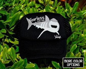 Fearless Great White Shark Boys Trucker Hat/ boys hat, toddler trucker hat, Christian hat, trucker cap, toddler fashion, summer hat, cap