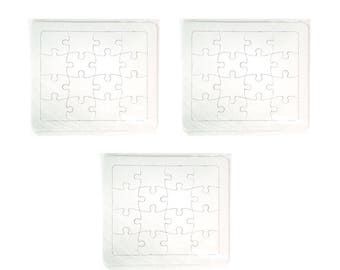 Blank Puzzle DIY, Jigsaw cardboard puzzles Create Your Own Puzzle,16pieces(19x17cm)-3pcs