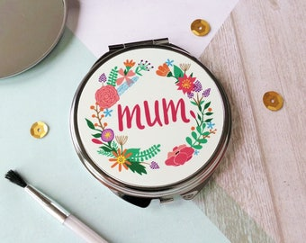 Personalised Mirror, Mum Mirror, Your Name Here Mirror, Mother's Day, Bridesmaid Gift, Personalised Compact, Birthday Gift, Handbag Mirror