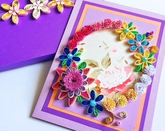 Flowers quilling Card,Quilling Birthday Card,Wedding Anniversary Card,Valentine Day Quilling Card,Paper Greeting Card,Wedding Congratulation