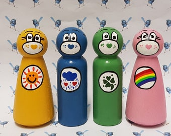 Wooden Peg Dolls - Carebears (Set of 4)