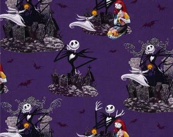 Purple Nightmare Before Christmas Fabric - Springs Creative Quilting Fabric - Jack skellington, Sally and Zero