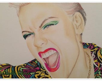 Portrait of P! nk in colored pencil