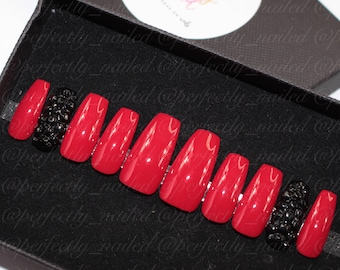 Red with black studded accent nail • Handpainted False Nails • Fake Nails • Press on Nails • Stick on Nails