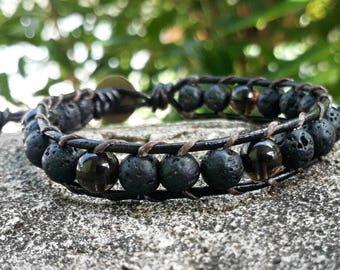 Lava wrap bracelets stone bracelets leather bracelets men bracelets women bracelets,smoky quartz bracelets
