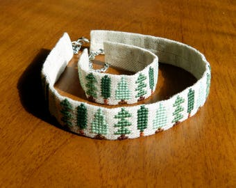 Еmbroidered choker and bracelet with trees - Green neck ribbon with cross-stitch - Green choker necklace - Forest neckband and bracelet