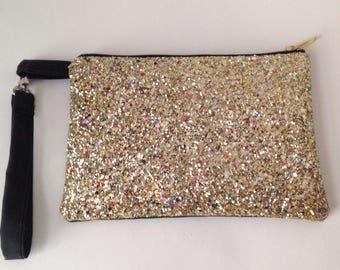 Glitter gold fabric and black pleather leopard clutch purse, pouch for cosmetics, smart phone or passport, new years eve pouch