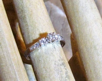 Diamond and 14K White Gold Engagement Ring, size