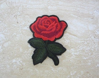 Red Rose Patch, Iron-on Patch, Embroidered Patch