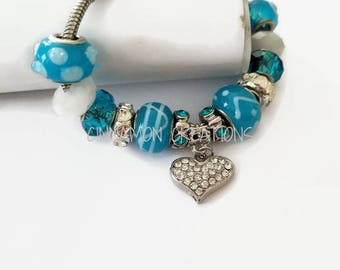 Turquoise & White Charm Bracelet, Pandora style bracelet