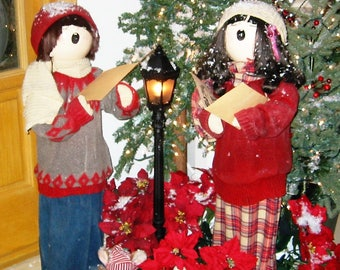 "vintage PAIR of tall 42"" CAROLERS by Sandra Hasson 1985"