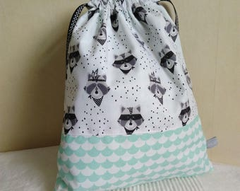 Bag pouch child raccoons grey white and mint green scales