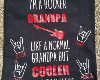 Rocker Grandpa, Grandma, Mom, Dad, Aunt, Uncle Personalized Shirts Great Gifts