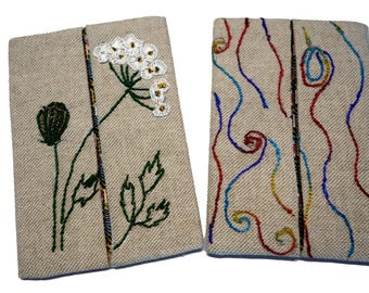 Set of two cases handkerchiefs, hand embroidery on linen blend (17-18)