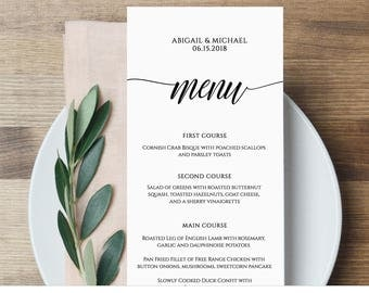 Menu Card Template, Rustic Dinner Menu, Wedding Menu Card Printable, Fully Editable Template, Instant Download, Digital, DIY #020-101WM