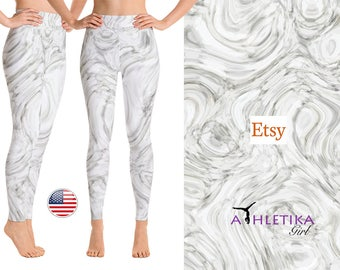 Liquid Gray Marble Print - Yoga Leggings - Yoga Pants - High Waisted Leggings - Yoga Tights - Dance Wear - Yoga Clothing - Dance Leggings