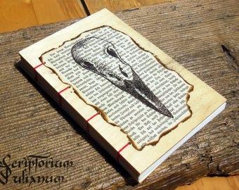 Raven skull notebook handdrawn wooden cover, animal bird skull gothic grimoire occult sketchbook journal book of shadows, Easter gift