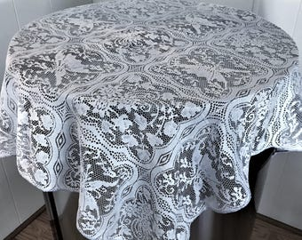 SALE: Gray Lace Tablecloth/Overlay, Vintage Gray Lace Small Tablecloth, Grey Tablecloth , Vintage Lace Small Tablecloth, Lace Overlay