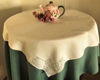 Vintage Tablecloth or Table Topper Ecru Linen Crochet Rose Pattern Corners, Vintage Luncheon Size Linen Tablecloth Crochet Corners