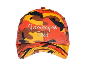 CHAMPAGNE DIET Camo Dad Hat, Embroidered Ethanol Drinking Hat, Low Profile Sparkling Wine Cap Hats, Many Colors
