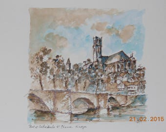 """Wash of sepia and watercolor on paper """"Limoges bridge st etienne"""""""
