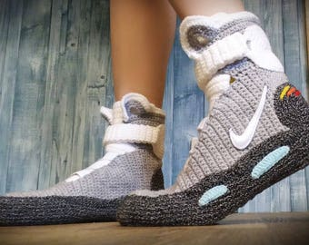Marty McFly Shoes Nike Air Mags, Back to the Future, Knitted Slippers, Handmade, Crochet Slipper Bootees, House Shoes, Air Mag Bootees