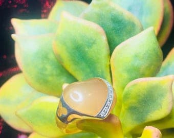Epoxy with Sterling Silver Overlay Ring size 8