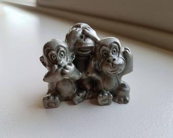 Miniature Pewter Monkeys
